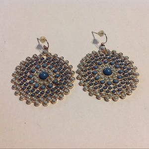 Gold Tone Blue Beaded Circle Earrings
